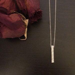 Crystal Silver Bar Necklace
